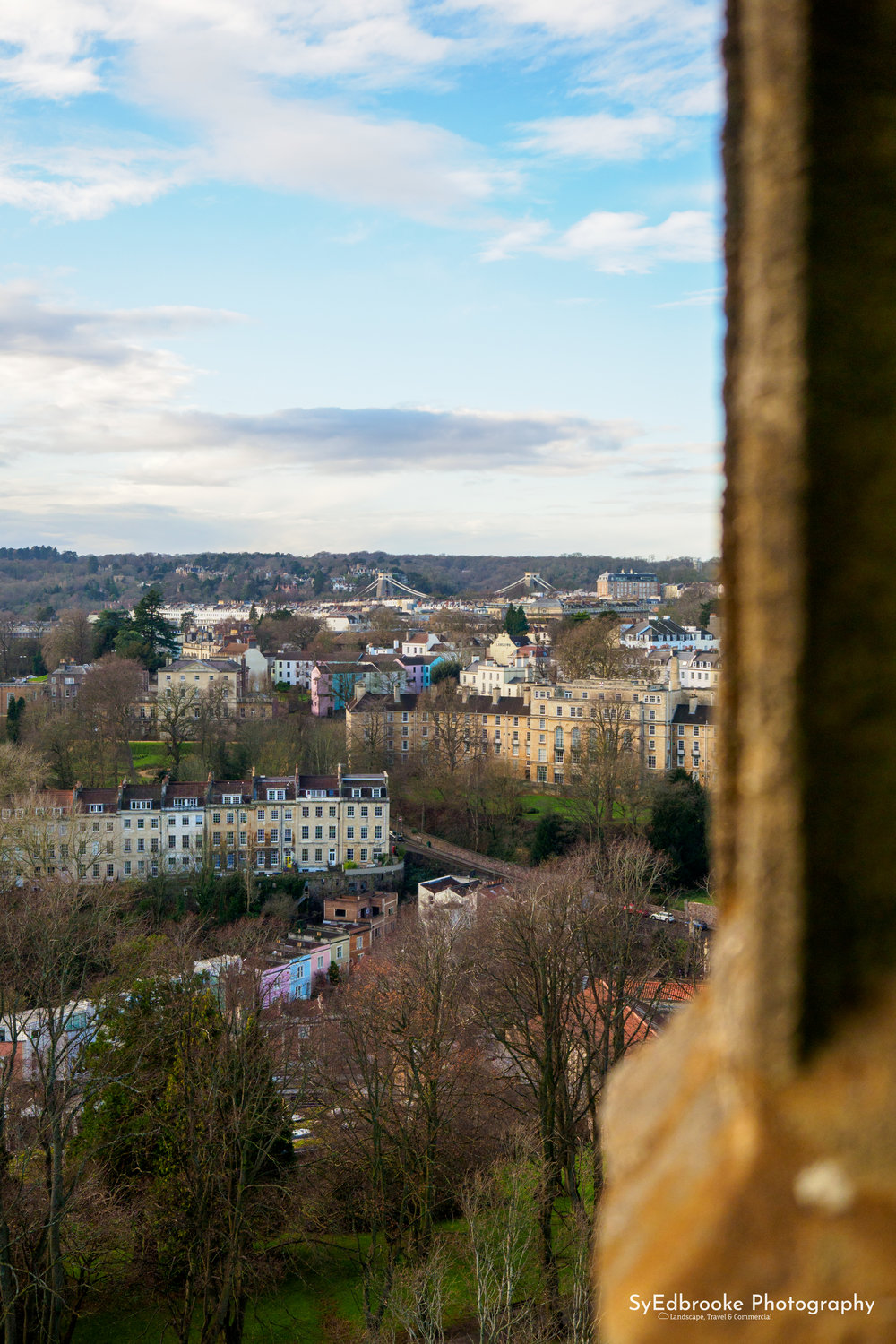 A view of Clifton from Cabot Tower. 40mm, ISO 200, f 2.8, 1/1250