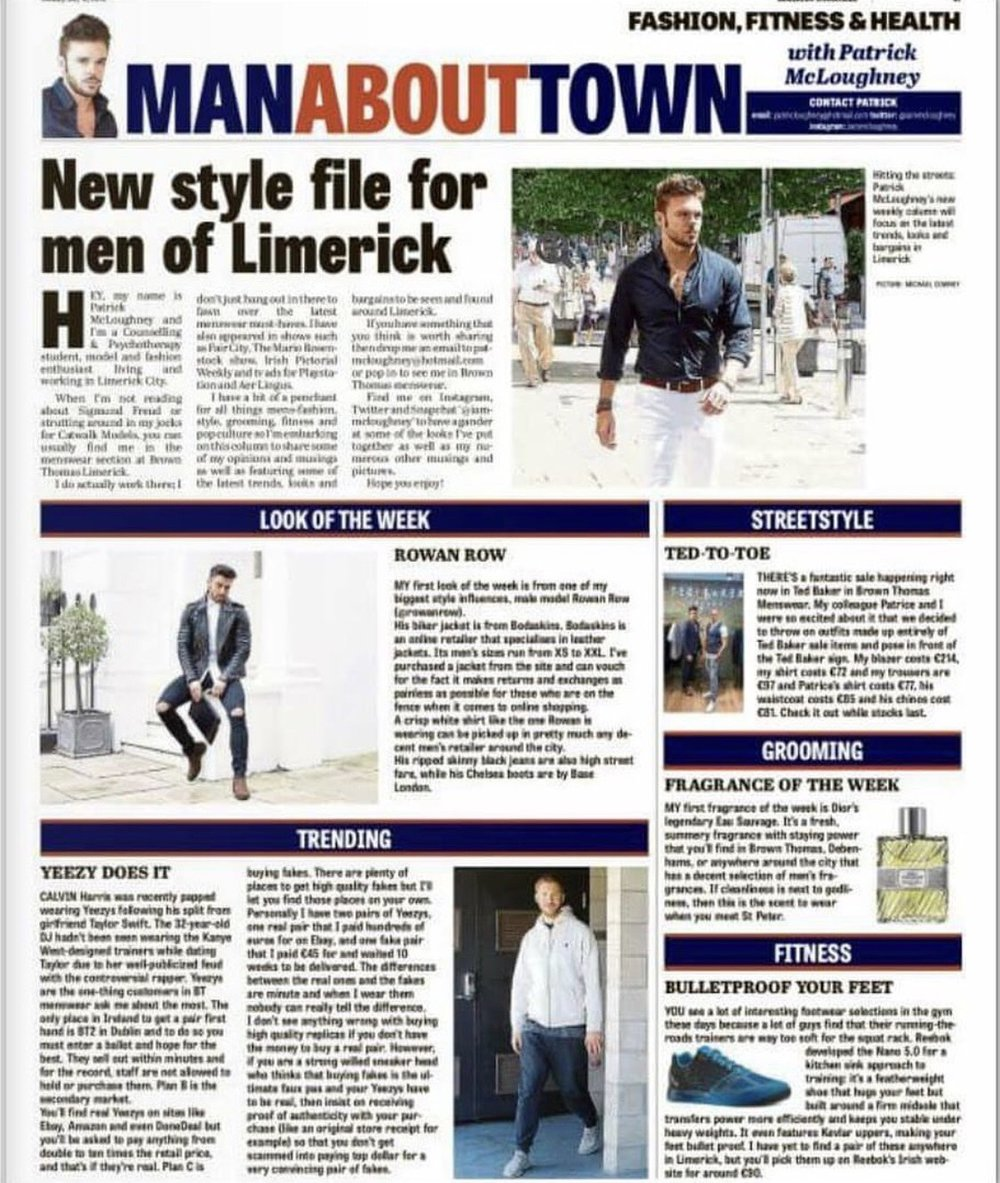 My first ever Man About Town column.