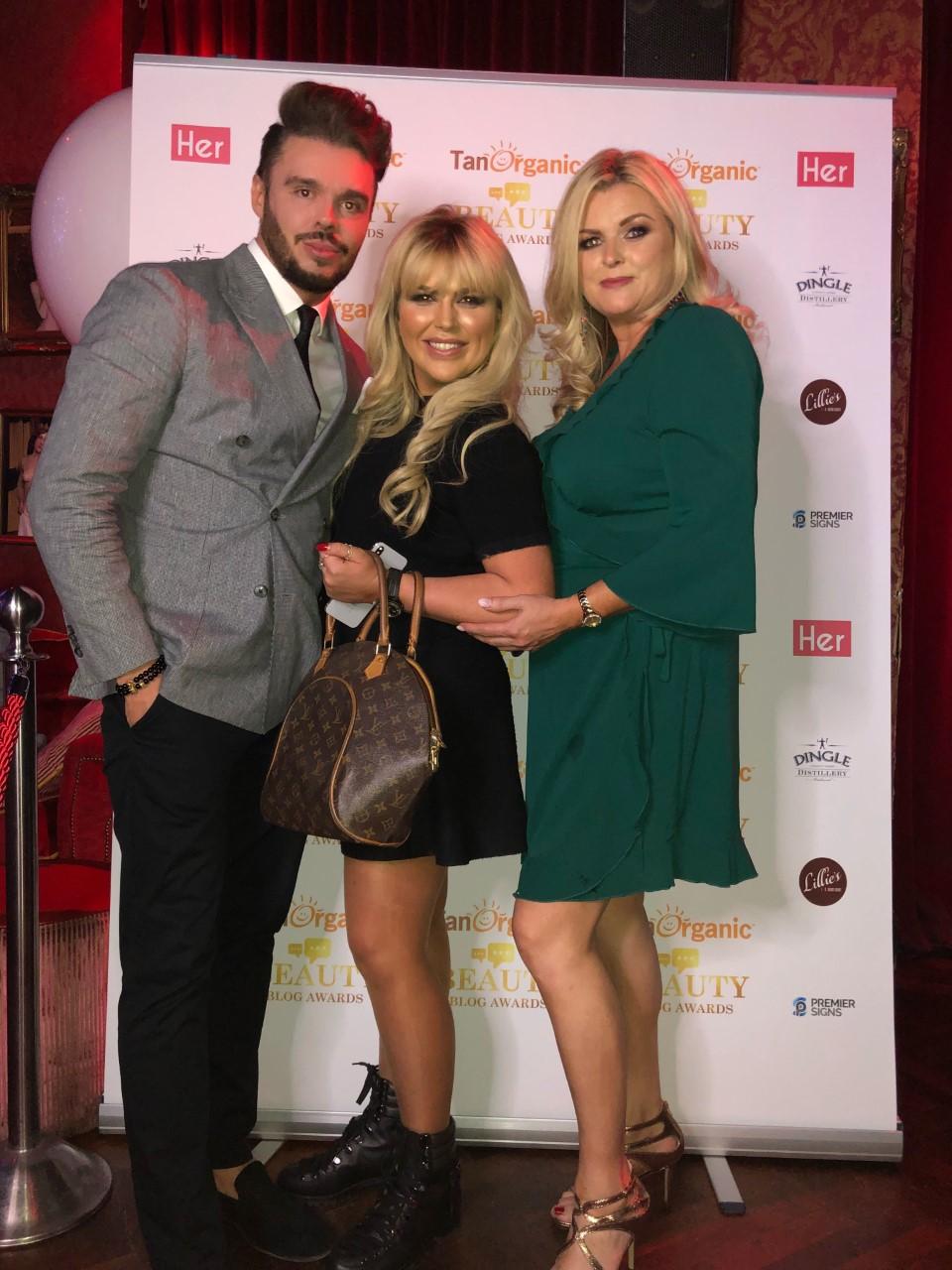 With Tara Denmark and Sharon Tucker at The Beauty Blog Awards