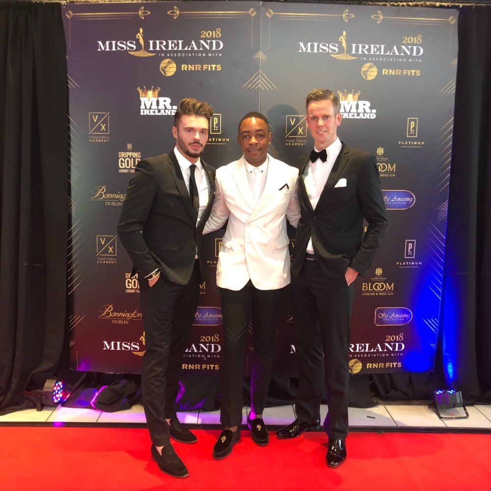 With Lawson M'pame and Chris Kavanagh at Miss Ireland 2018