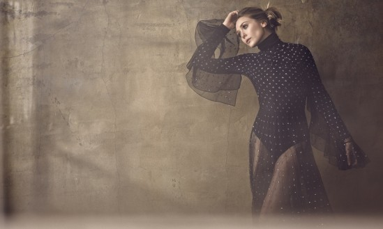 Dress, price upon request, Dior, Beverly Hills; Colorado String bodysuit in black, $250, Wolford, Beverly Hills.