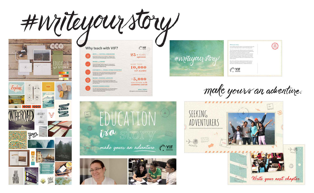 Visual design work including moodboard, hand-lettering, print/web advertising, postcard and video stills.