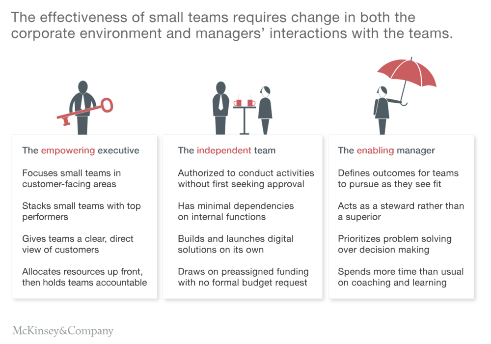 FIGURE 6   : HOW TO ENABLE SMALL TEAMS IN AN AGILE COMPANY (SOURCE: MCKINSEY)