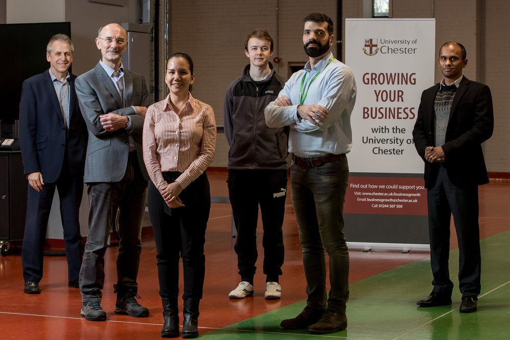 Jim Colston (BDM Commercial Operations), Paul Willson (Director of PMW Technology Ltd), Carolina Font-Palma (Senior Lecturer), David Cann (PhD candidate), Georgios Lychnos (PDRA of PMW Technology Ltd), Newsun Jose (BDM Commercial Operations). Photo by Mark English