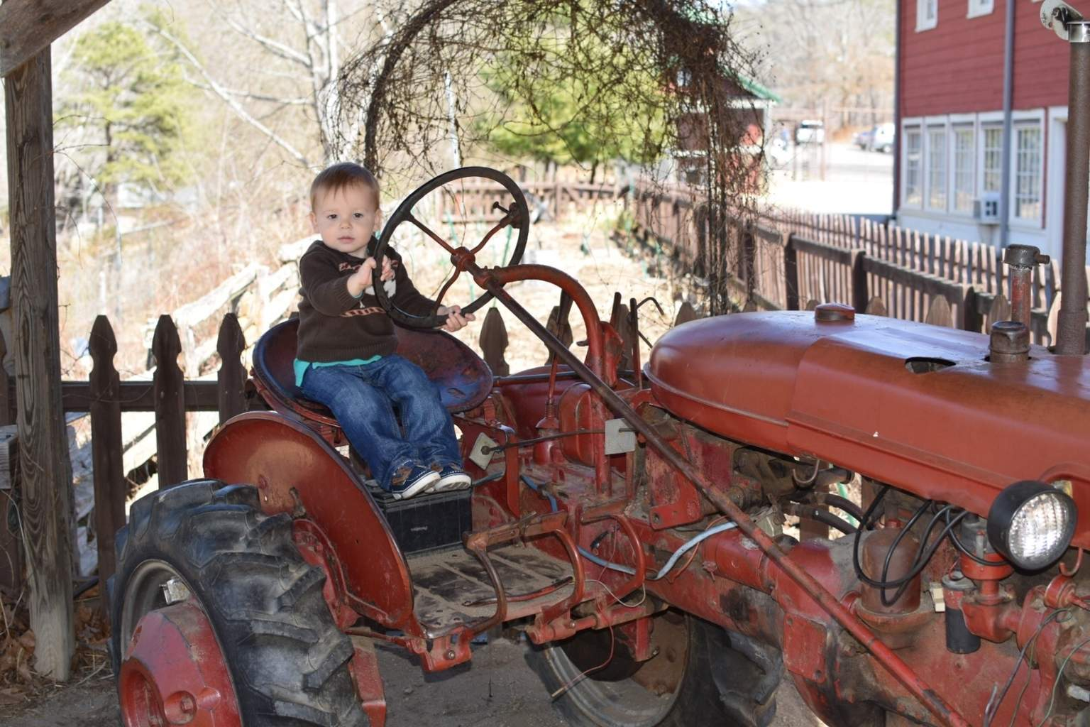 Graham sitting on a tractor at the WNC Nature Center