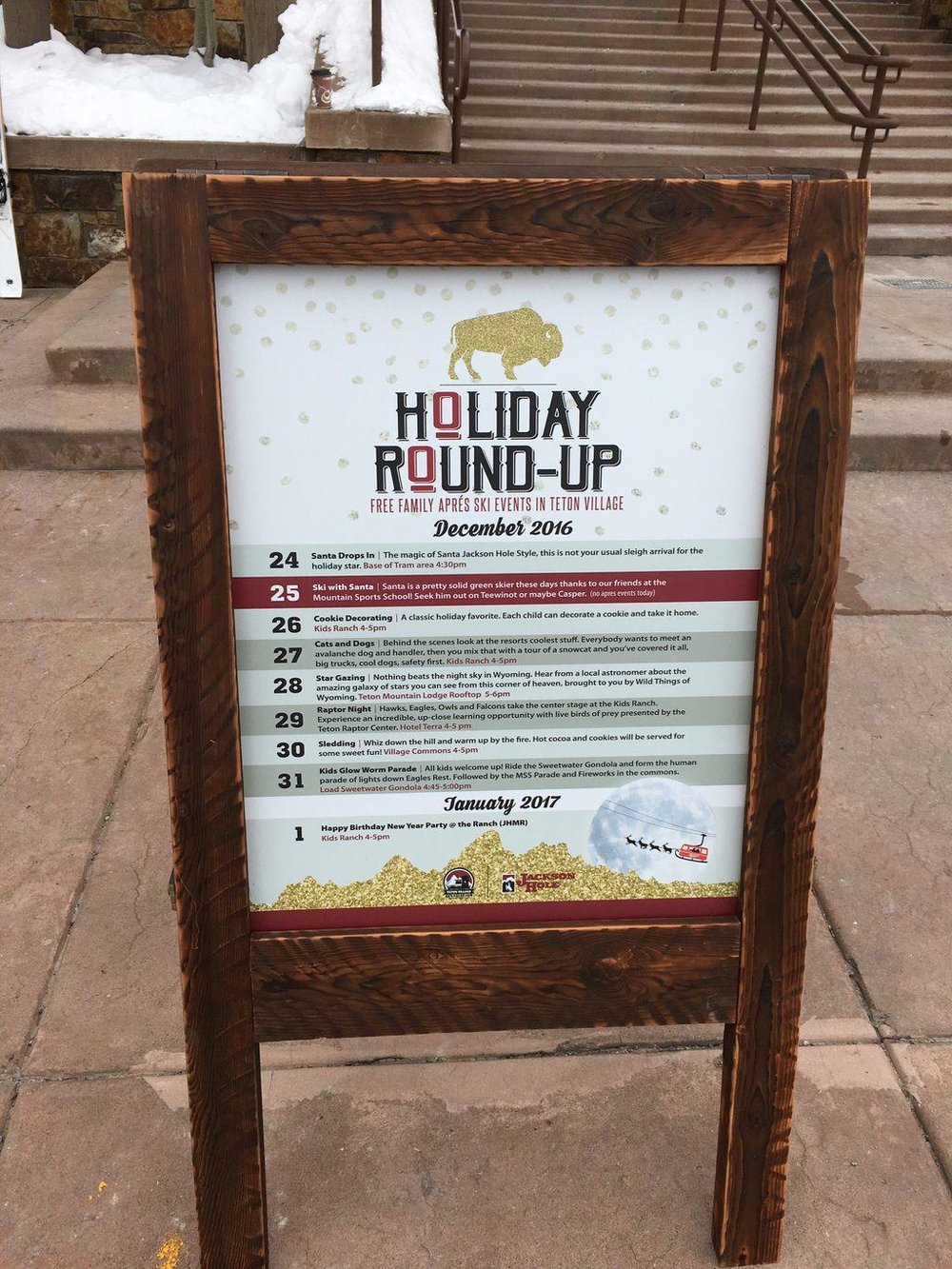 The list of family events at the Jackson Hole Mountain Resort for the 2016-2017 Holiday Season