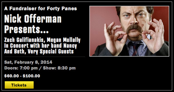 Nick Offerman, tireless champion of Wendell Berry's writing, is hosting a fundraiser for FORTY PANES in LA.  Details here.