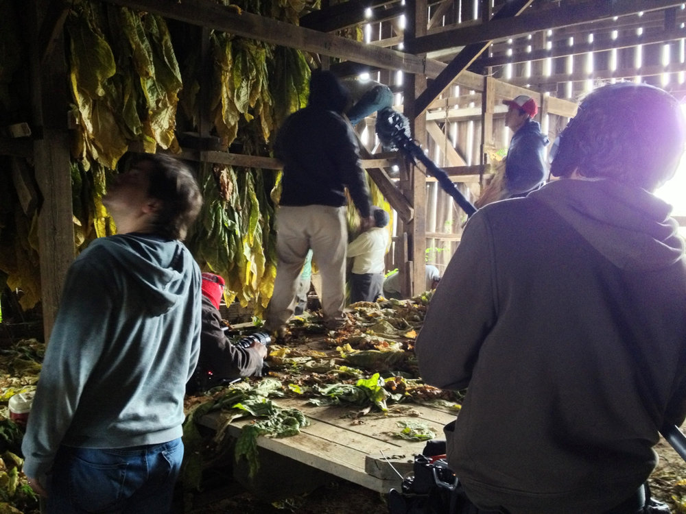jefsewell: Laura snapped this picture of me, Lee and Justin while we were filming a crew hanging their tobacco in a barn.