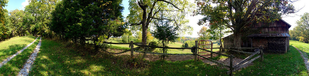 Panoramic iPhone photo of Kentucky horse pastures.