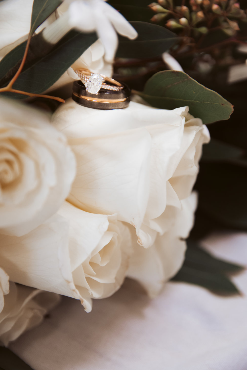 Wedding Rings in White Roses, Emmetsburg, IA