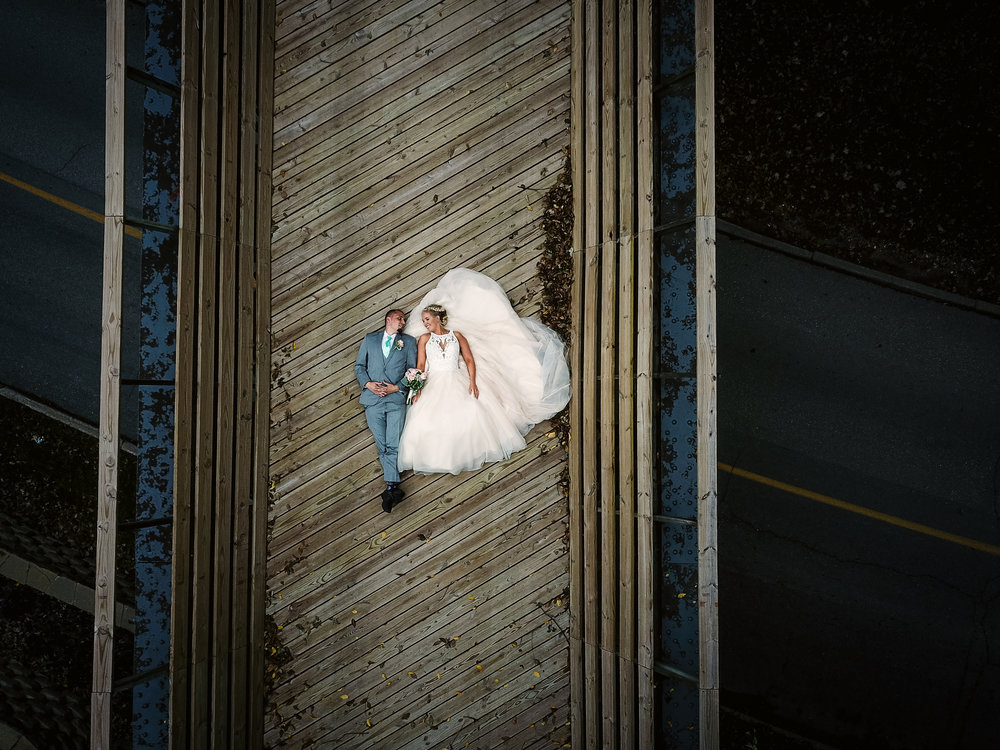 A different perspective in Dakota City for this Bride and Groom