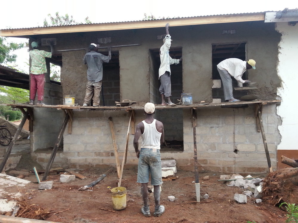 Plastering of the new maternity extension