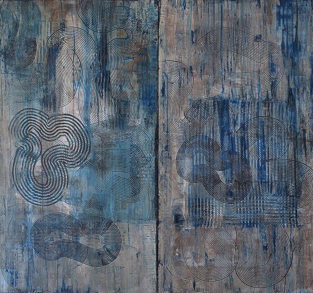 "Dipytch, 1995 (Tar, wax and enamel on canvas), 50"" x 55"""