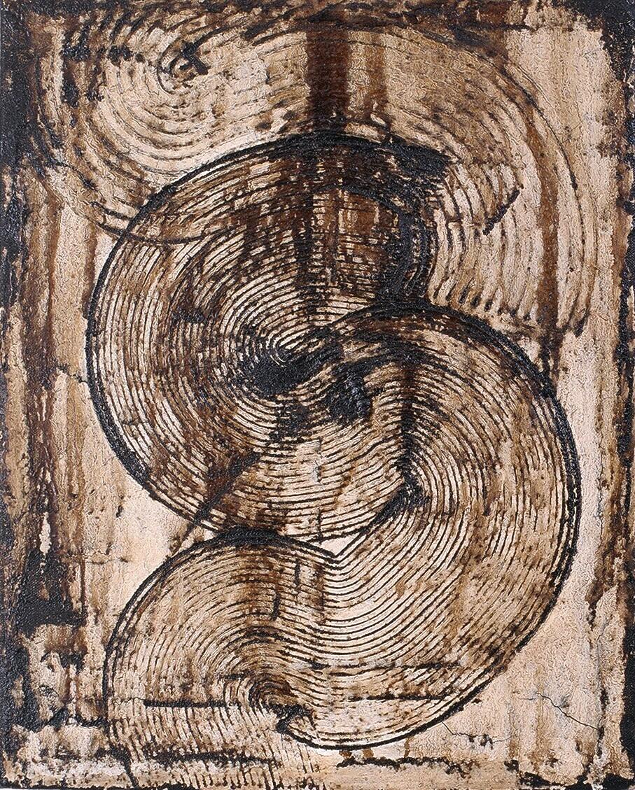 "Viscera 1,1995 (Tar, wax and enamel on canvas) 15"" x 12"""