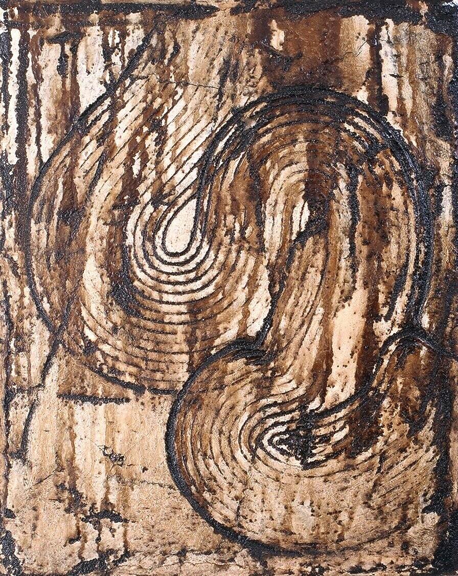 "Viscera 11, 1995 (Tar, wax and enamel on canvas) 15"" x 12"""