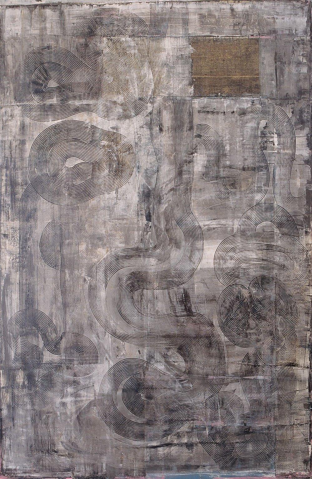 "Watcher, 1995 (Tar, wax and enamel on canvas) 78"" x 51"""