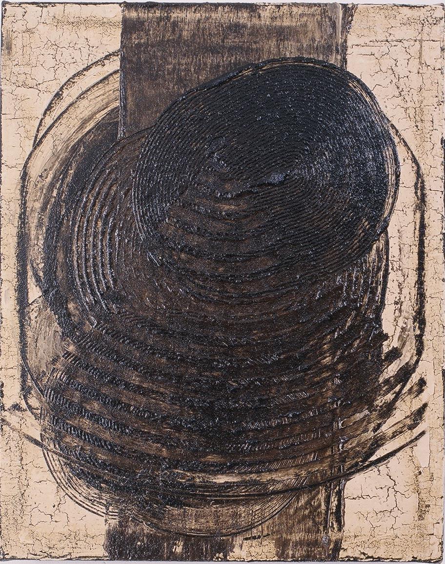 "Sound Study 1, 1995 (Tar, wax and enamel on canvas) 15"" x 12"""