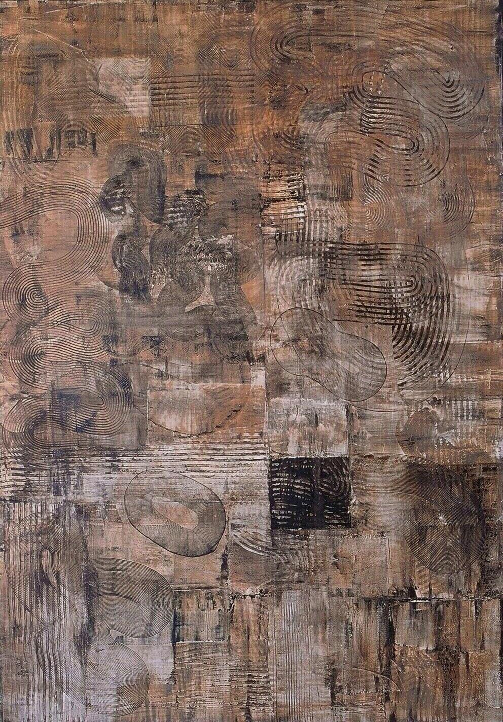 "The Big Dream, 1994 (Tar, wax and enamel on canvas) 73"" x 51"""