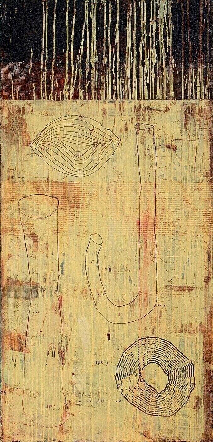 "The Diary, 1995 (Tar, wax and enamel on canvas) 50"" x 24"""