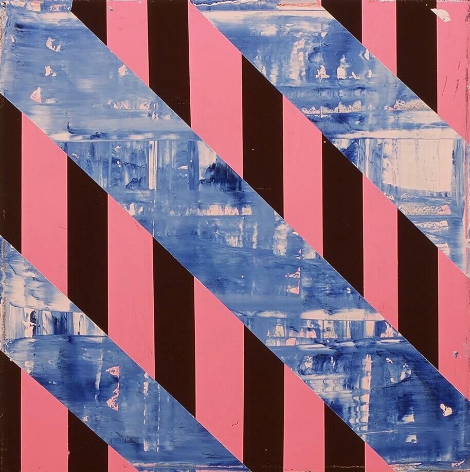 "Bridge Work I, 2003 (enamel on canvas) 22"" x 22"""