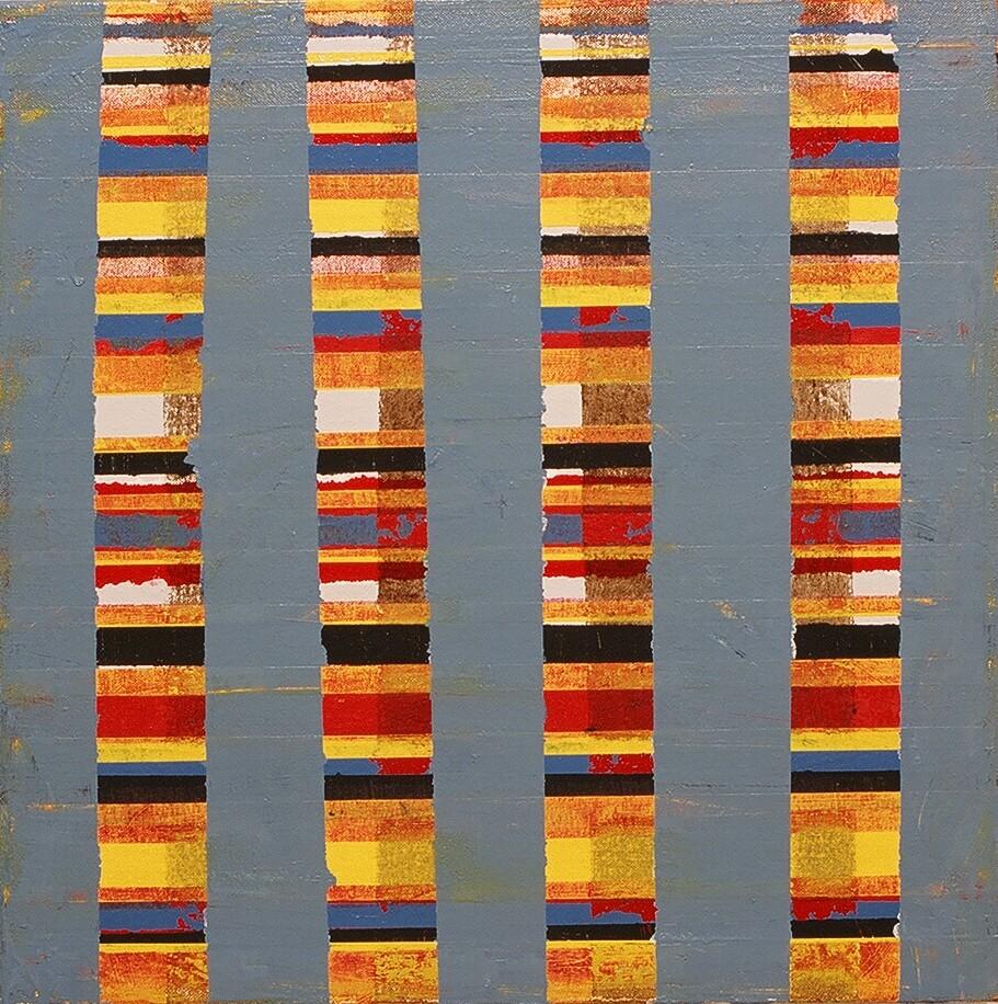 """Pillars, 2003 (enamel on canvas) 17.5"""" x 17.5"""""""