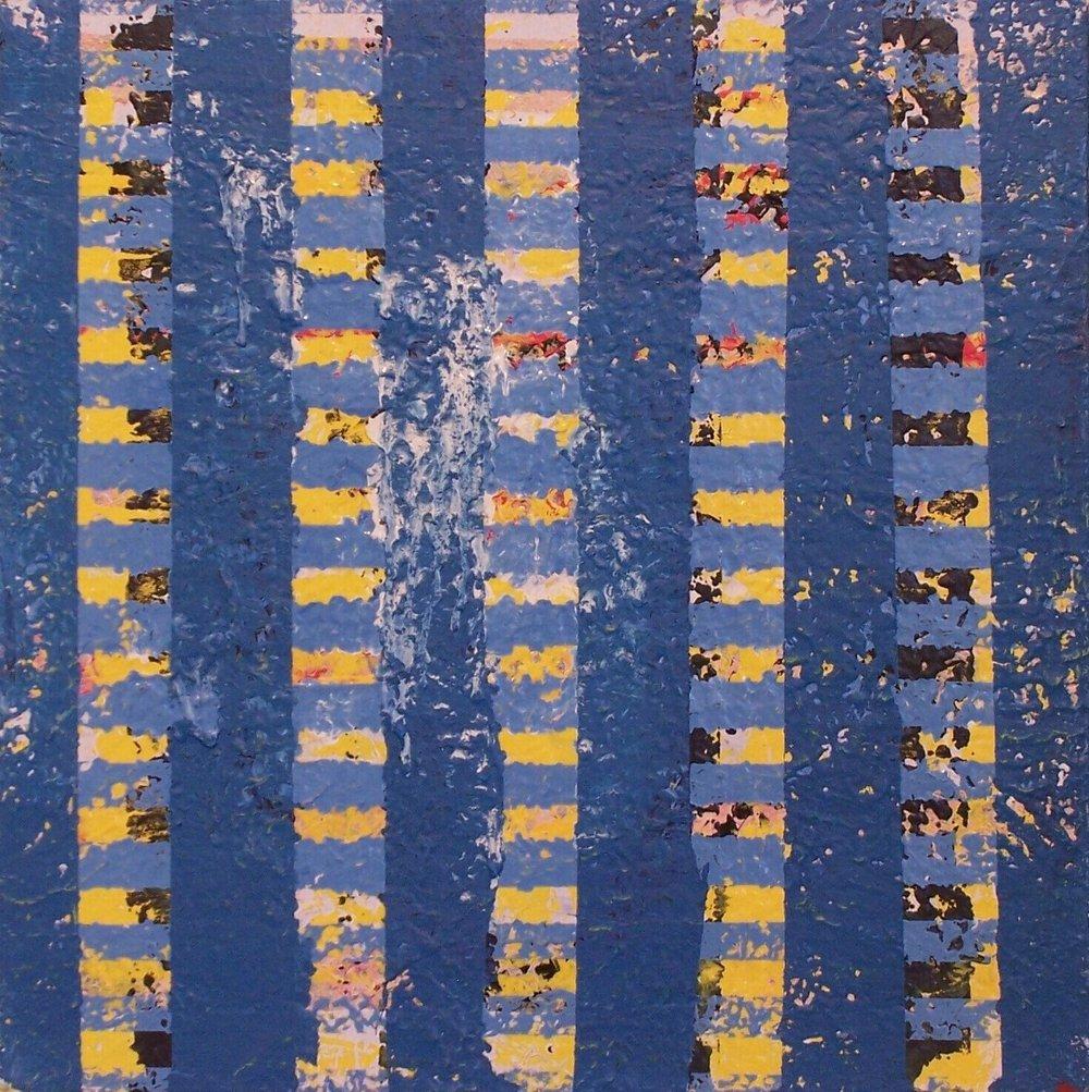 """Pillars, 2003 (enamel on canvas) 22"""" x 22"""""""