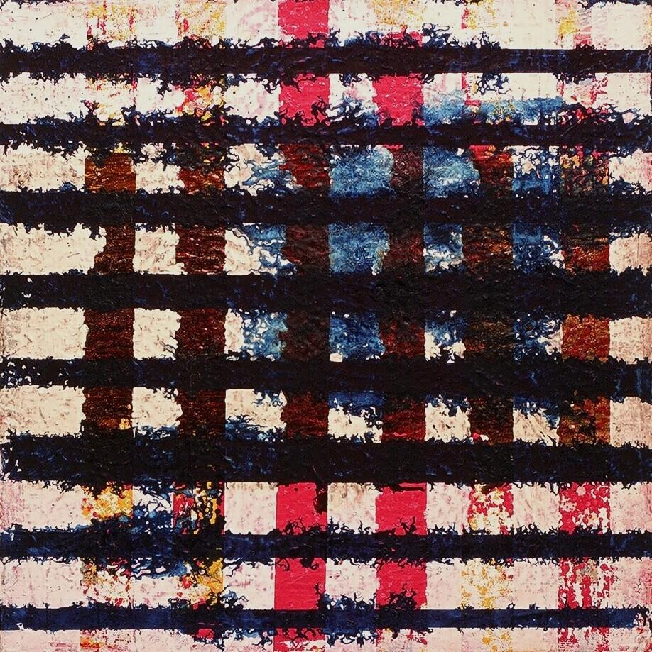 "Implosion, 2002 (enamel on canvas) 24"" x 24"""