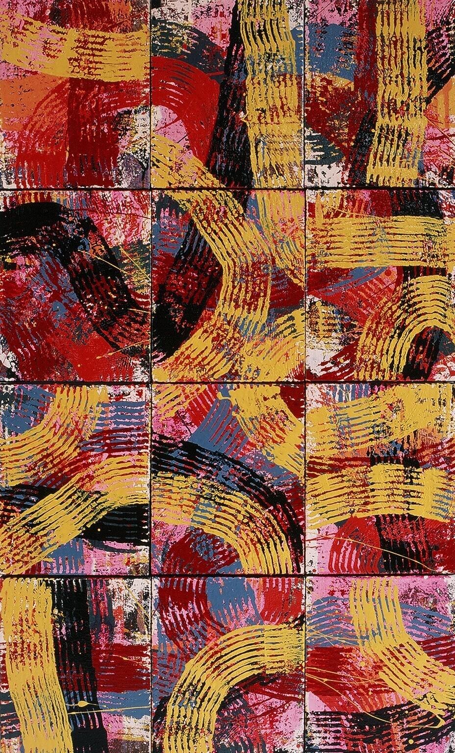 "Road Work, 1998 (enamel on canvas) 61"" x 36"""