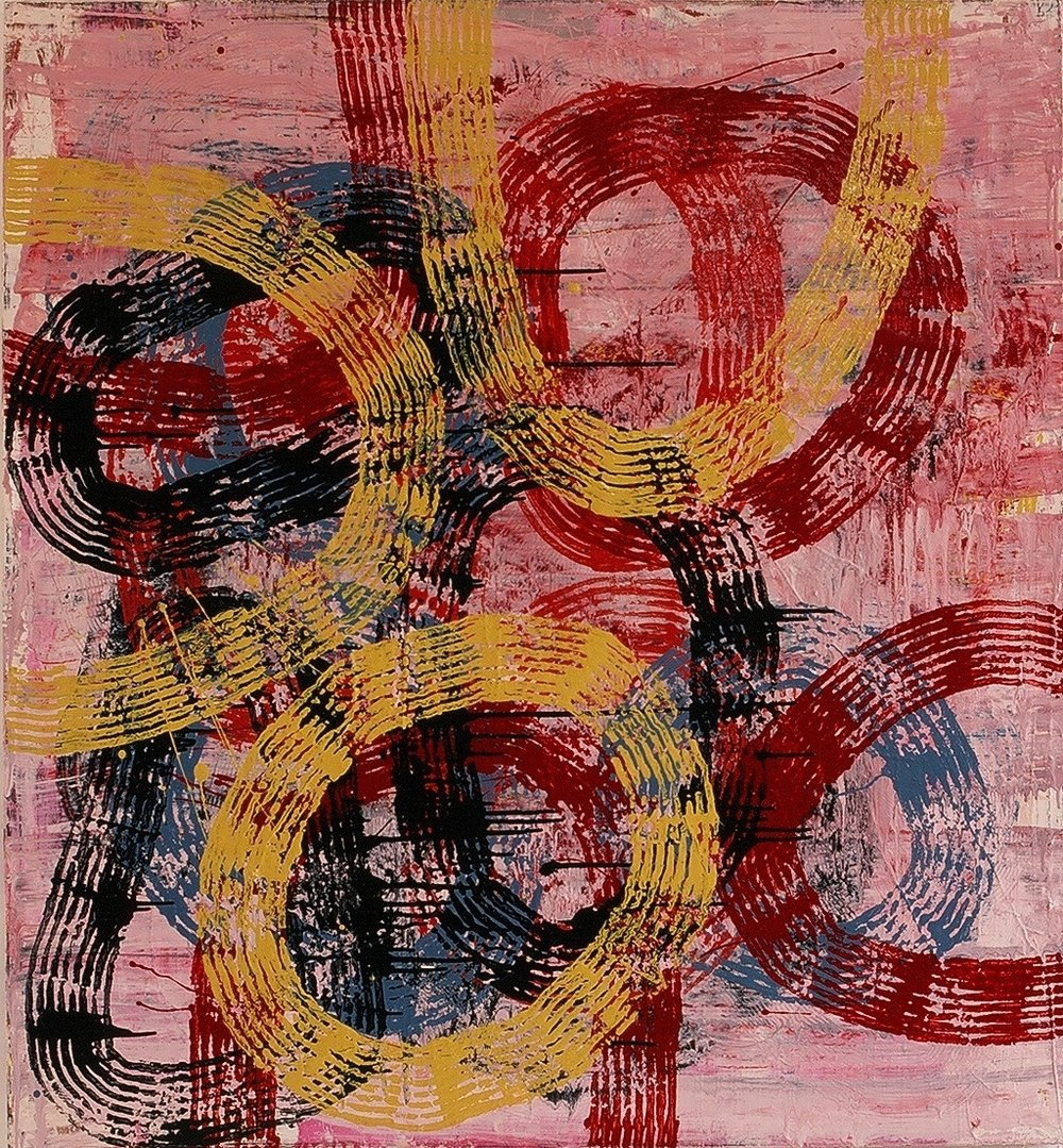 "Tuesday, 1998 (enamel on canvas) 52"" x 48"""