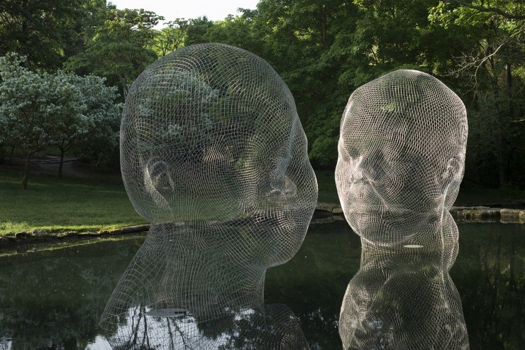 Jaume Plensa,  Awilda & Irma , 2014, stainless steel, H. 157.5 x W. 157.5 x D. 118 in. each, © J2017 Jaume Plensa, Courtesy Galerie Lelong, New York.