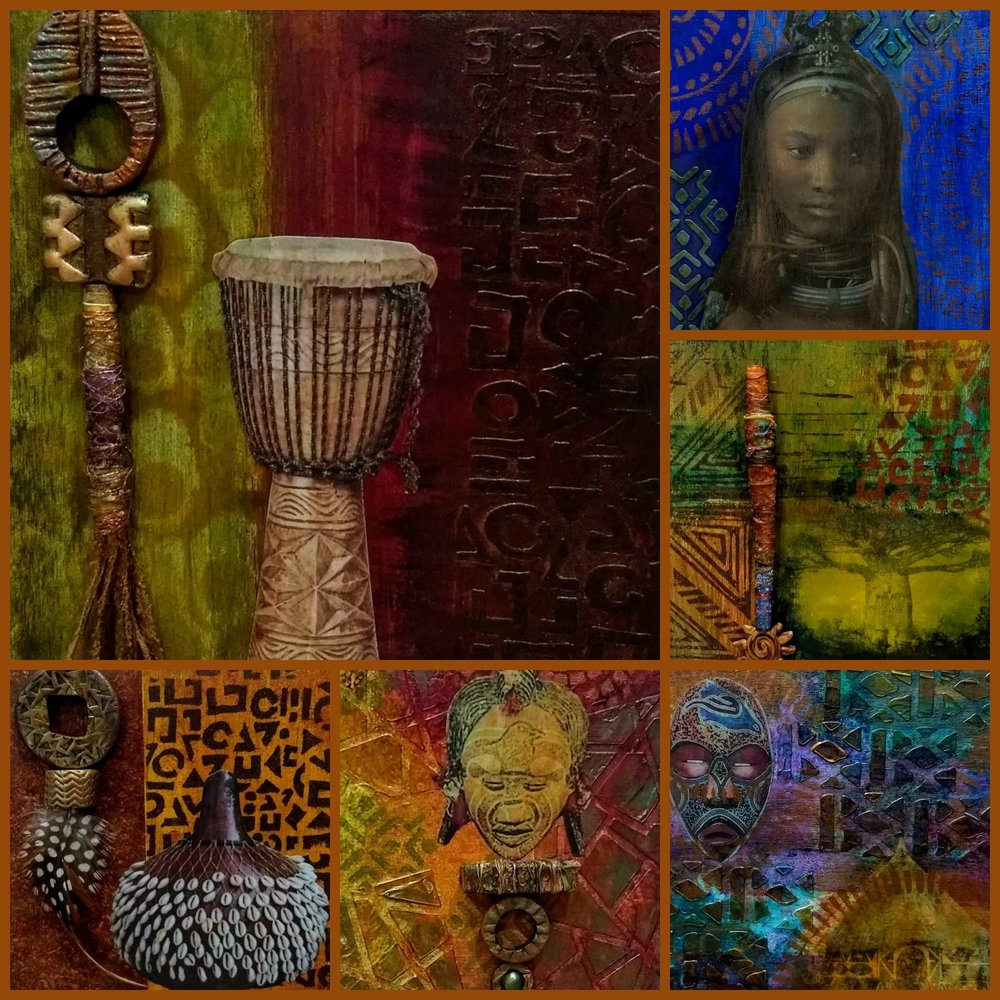"From left:  Dreams of Africa:  ""Djembe"", ""Himba"", ""Baobab"", ""Tribal Home"", ""River Goddess,"" and ""Shekere"". ©2018 Kindred Spirit Studios 