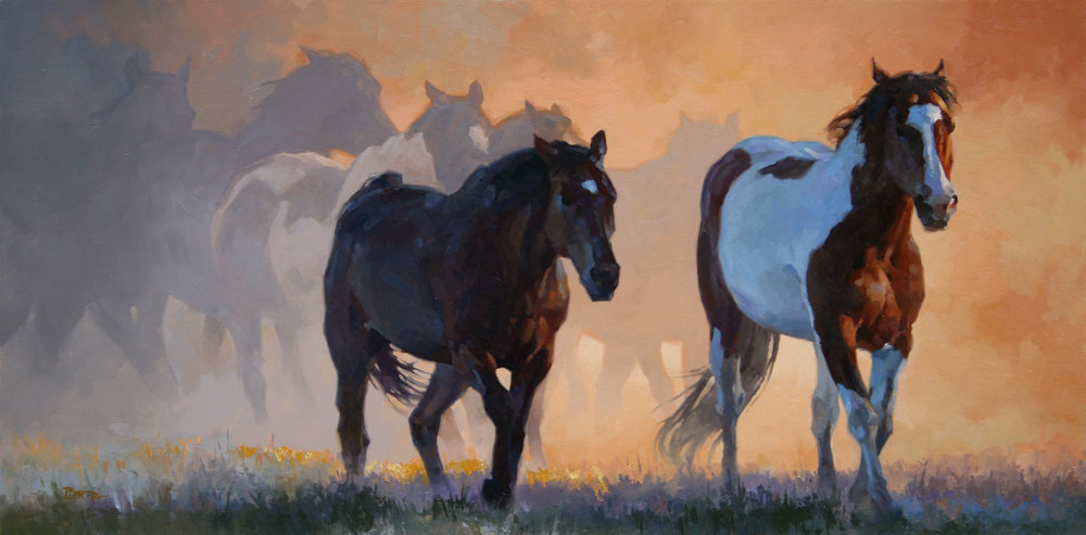 """Seven Steeds"" 16x32 oil private collection"