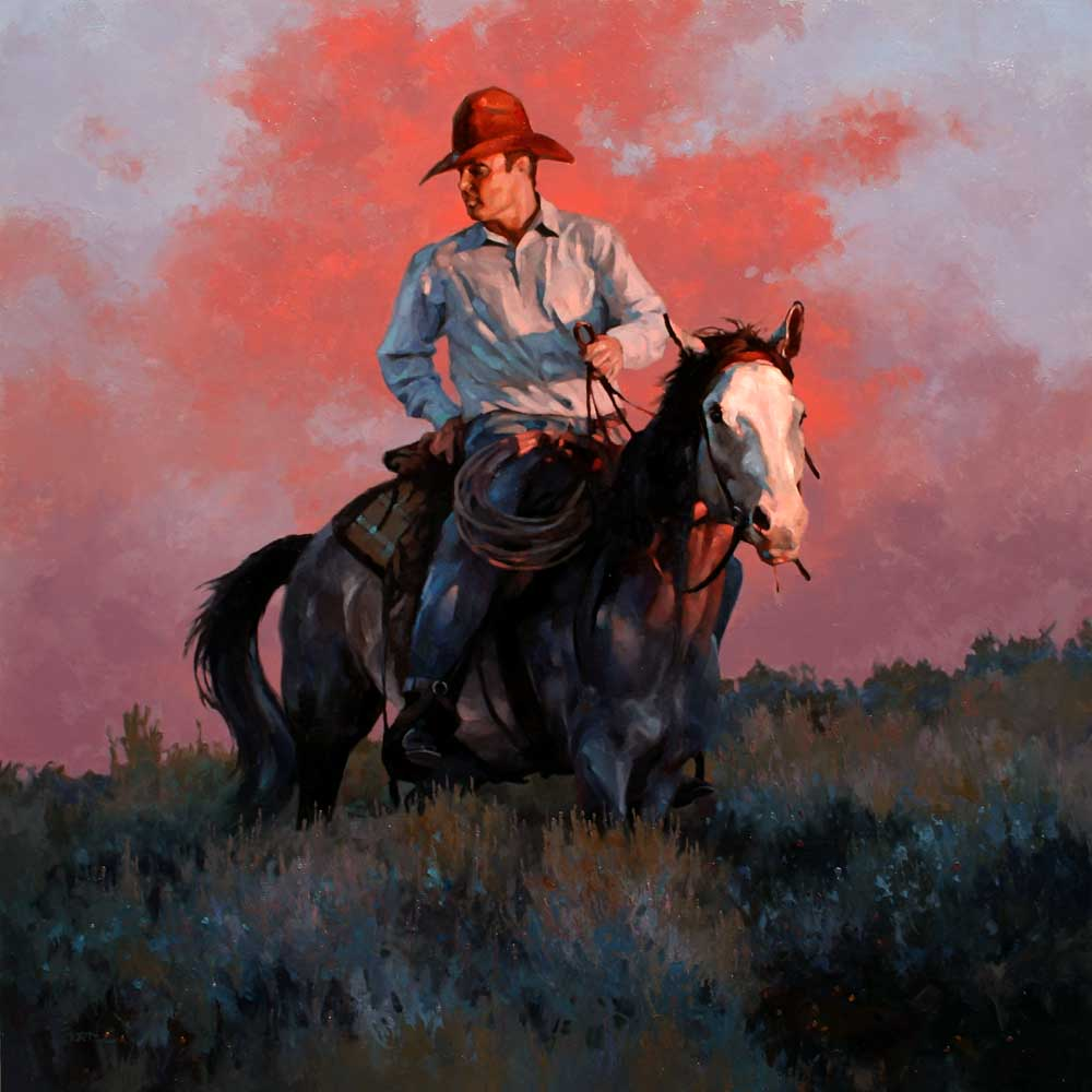 """Outriders"" 30x30 oil  Mountain Trails Gallery, Jackson"