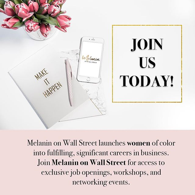 Sign up today via the link in our bio to be the first to know about our job opportunities, work shops, career advice from experts, and events! 💗 #melaninonwallstreet #womensuppportingwomen #career #jobopportunity #blackgirlmagic #blackgirlsrock
