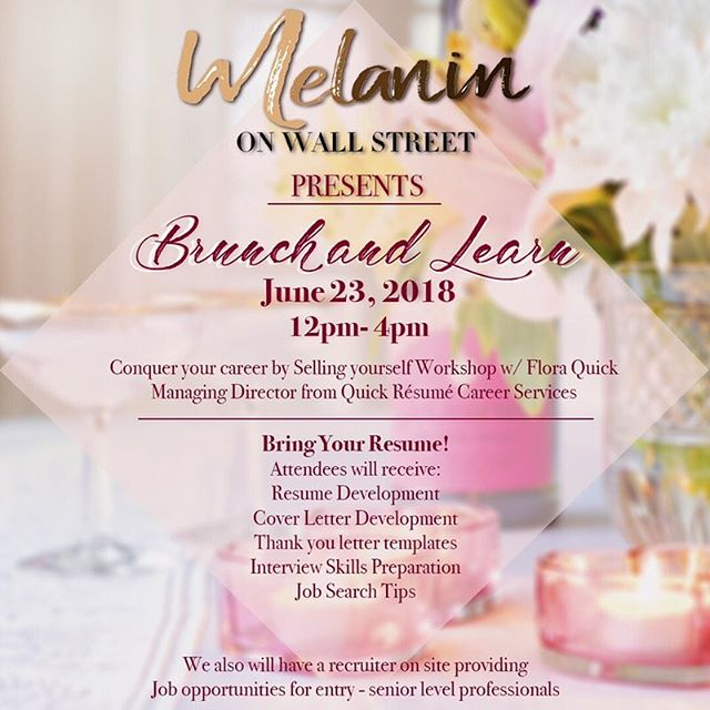 Ladies, our discounted pre sale tickets are going fast for our Brunch and Learn workshop dedicated to helping professional women of color Entry to Senior level conquer their career by learning how to Sell themselves Professionaly With Flora Quick, Managing Director of Quick Résumé Career Services.  This event is going to be a fabulous networking experince along with providing tools to help you level up professionally.  This event includes: Brunch & Mimosas - Gift bag Provided by sponsors - Career Tool Kit - Giveaways Attendees will receive: Resume Development, Cover Letter Development, Thank you letter templates, Interview Skills Preparation, and Job Search Tips  The amazing @theainsworth will be hosting us in their Wall Street area location. Limited seating available.  Looking for new employment? We also will have a few amazing recruiters on site providing employment opportunities. Ticket link in our bio. Tell a friend bring a friend + share this amazing opportunity 💗 #melaninonwallstreet  #melaninonwallstreet #careerservices #jobs #recruitment #jobopportunity #jobopportunities #brunchandlearn