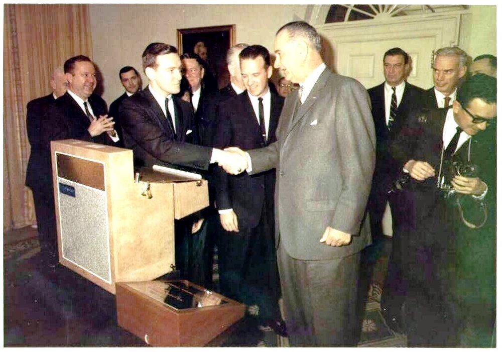 Col. Jack Rubley with LBJ in Cabinet Room White House