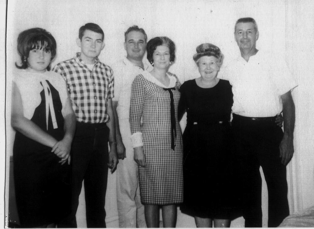 Debra & Wayne (Grandchildren)  Hollis & Frances Sue (Daughter & Husband)     Geraldine     Charles H. Rubley (Brother)