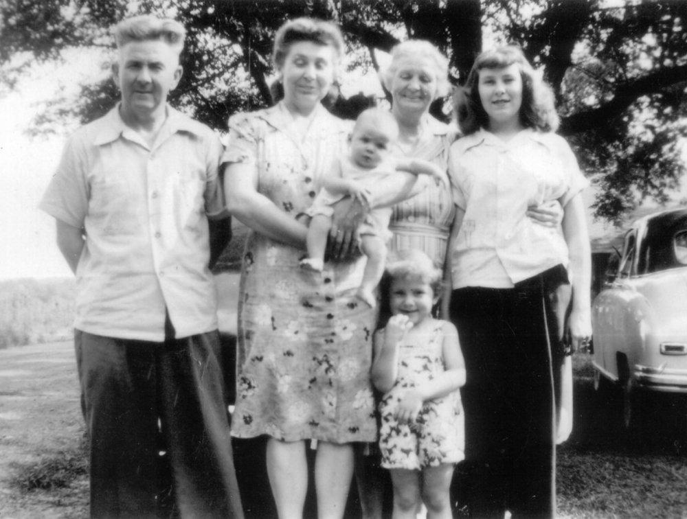 Fred & Mae Rubley McGough,  Cora Thomas Rubley,  Betty McGough, Cecilia McGough  Ellen Hayes (Baby)