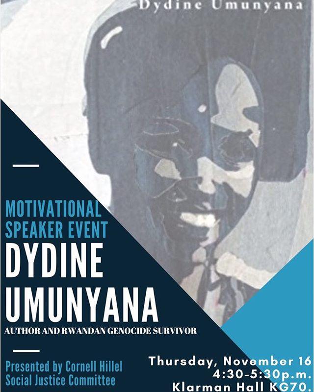 Helloooooo #NEWYORK! 👋@dydineumunyana will be speaking at @cornelluniversity on Thursday Nov 16th! All are welcome to #listen & attend! If you're around, check it out 🙂 #cornell #cornelluniversity #Rwandan #genocide #survivor #inspiration