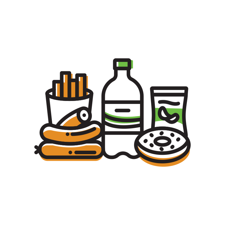Packaged | Unhealthy Ingredients  Sugary, processed, high calorie edibles, without options for restrictions (GF, V, food allergies).