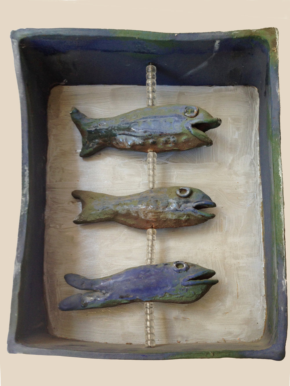 "2. Mary Ann BowmanThree Fish  Glazed stoneware 12"" x 8"" x 3.5"" Retail value $275"