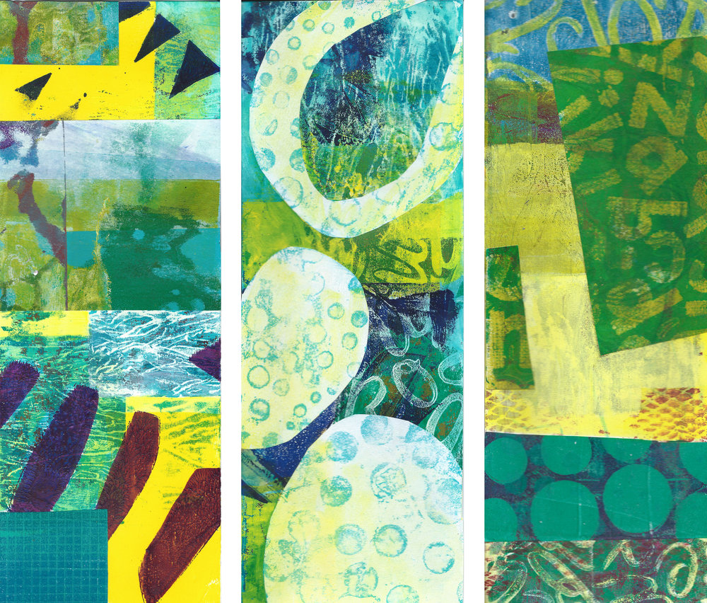 4. Patricia Brown Spontaneous Collages #17, 9 and 1, from Present Time  Acrylic collage on paper Retail Value: 195.00