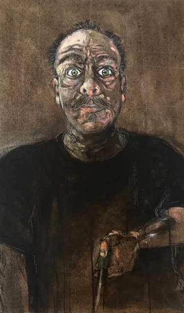 Green Eyes: self portrait with selfie stick  walnut ink and acrylic on composite panel