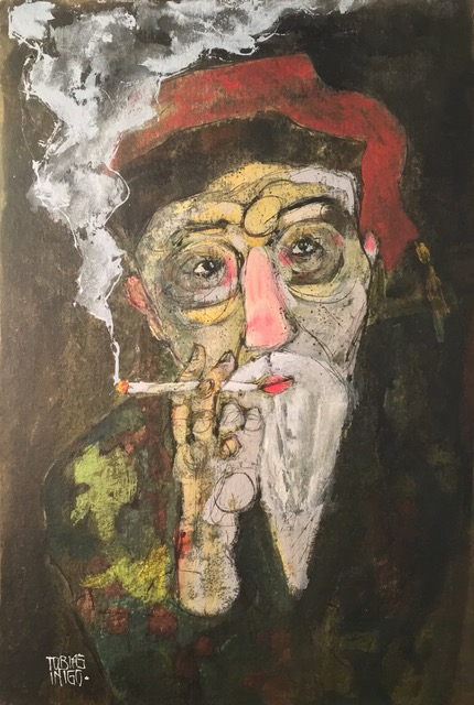 Old Guy in a Fez and Smoking Jacket Smoking    walnut ink and acrylic on composite panel