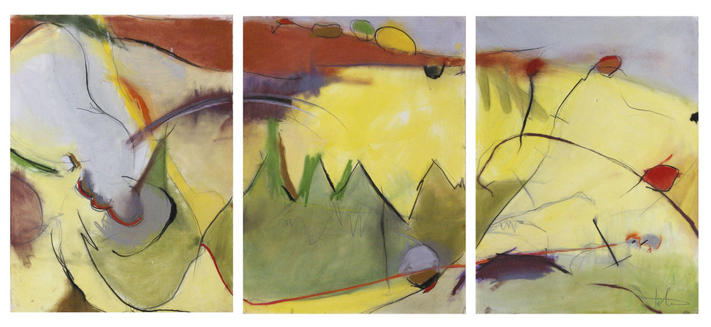 Abstract Landscape in Three Parts • Pastel on paper • 30 x 72""