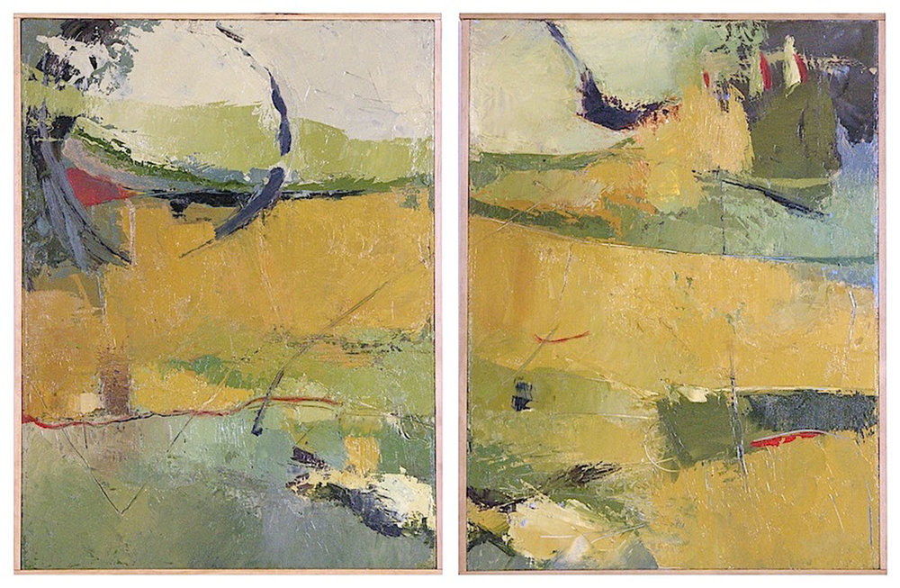 "Abstract Landscape Diptych • Oil on wood • 24 x 32"" SOLD"