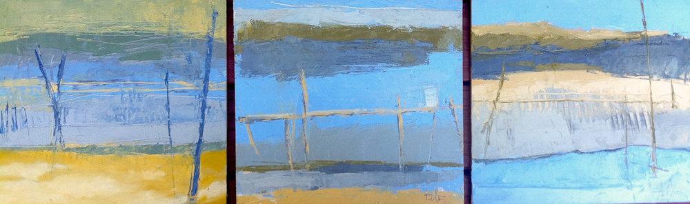 "Blue Beach x 3 • Oil on panel • 8 x 27"""