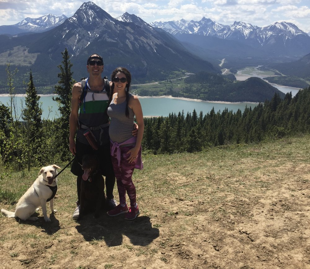 Papa Bird, Mama Bird, Thor the Chocolate Lab, and Storm the Yellow Lab In Canmore Alberta