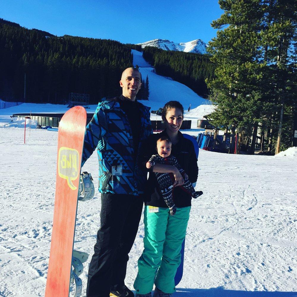 Baby Bird's first trip to a ski hill