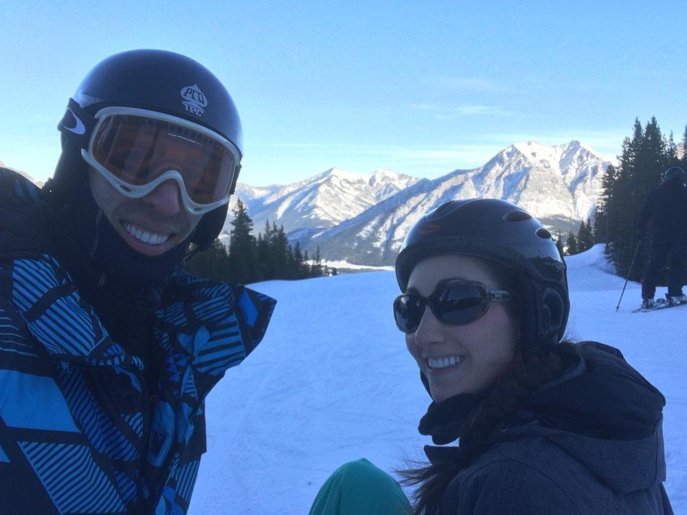 Mama and Papa Bird snowboarding at Nakiska